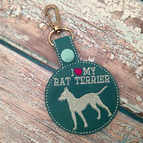 Bag Tag Novelty Keyfob - I Love My Rat Terrier Turquoise