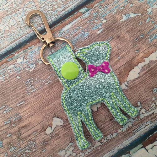 Bag Tag Novelty Keyfob - Boston Terrier Silhouette Aqua Glitter w/Bow