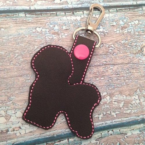 Bag Tag Novelty Keyfob - Bichon Frise Silhouette Black Pink