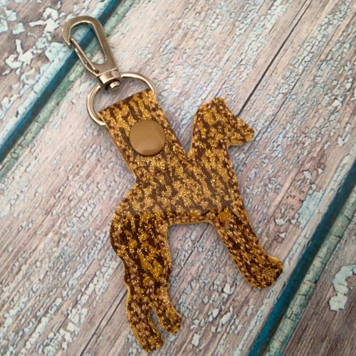 Bag Tag Novelty Keyfob - Italian Greyhound IG Silhouette Gold Granite Glitter