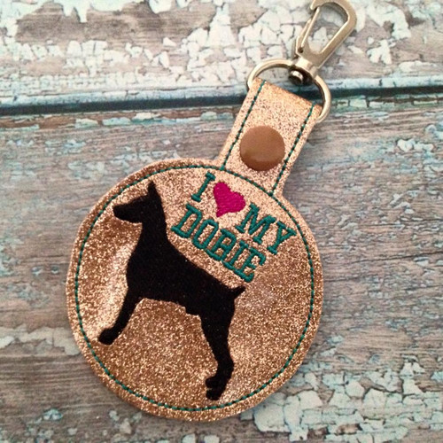 Bag Tag Novelty Keyfob - I Love My Dobie Gold Glitter