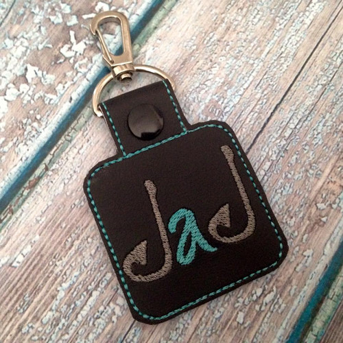 "Bag Tag Novelty Keyfob - Fish Hooks ""Dad"" Black"