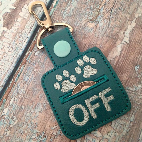 Bag Tag Novelty Keyfob - Grocery Store Quarter Keeper Paws Off Teal/Aqua