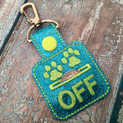 Bag Tag Novelty Keyfob - Grocery Store Quarter Keeper Paws Off Glitter Turquoise/Lime