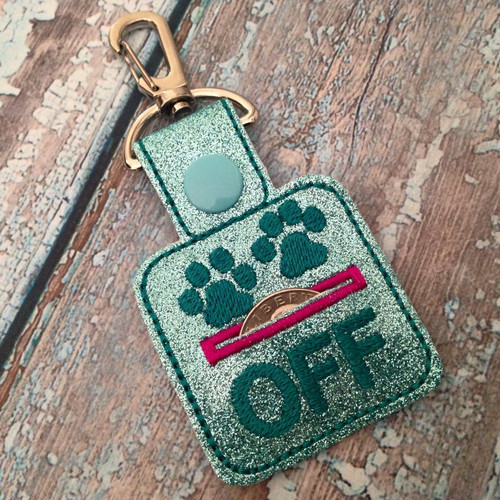 Bag Tag Novelty Keyfob - Grocery Store Quarter Keeper Paws Off Glitter Aqua/Teal