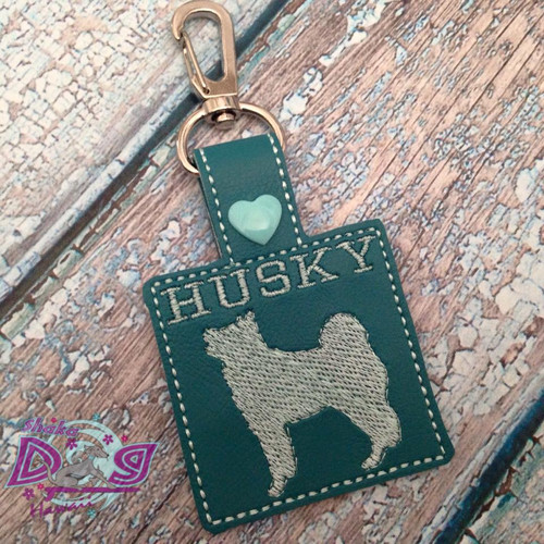 Bag Tag Novelty Keyfob - Husky Square Teal