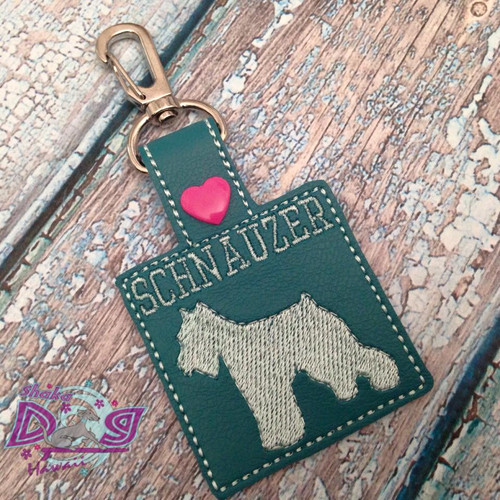 Bag Tag Novelty Keyfob - Schnauzer Square Teal