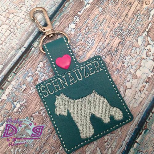 Bag Tag Novelty Keyfob - Schnauzer Square Teal
