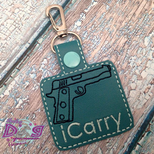 Bag Tag Novelty Keyfob - i Carry Gun Teal