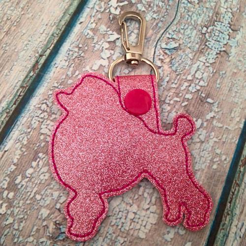 Bag Tag Novelty Keyfob - Poodle Pink Glitter