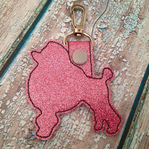 Bag Tag Novelty Keyfob - Poodle Pink Glitter with Silver Snap