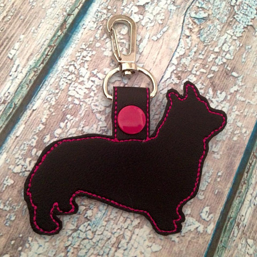 Bag Tag Novelty Keyfob -  Corgi Black / Hot Pink