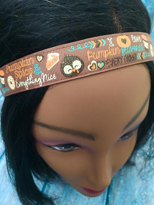 Shaka Girl Headband -  I Love Pumpkin Spice Everything 1""