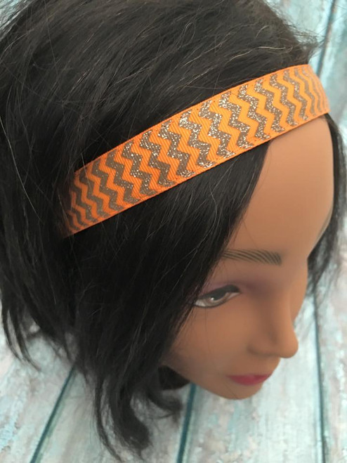 Shaka Girl Headband - Autumn Harvest Chevron Orange/Brown 1""