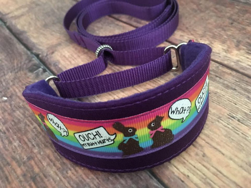 Premade Chocolate Bunny Funnies on Purple Hound Collar/Lead 8-11""