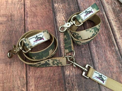 Premade Army Camo Multi Dog Leash System Set