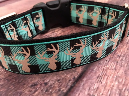 """Plaid Deer Turquoise 1 Inch Side Release 9-12"""""""