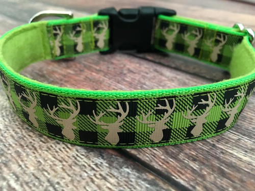 """Plaid Deer Lime on Lime 1 Inch Side Release 10-14"""""""