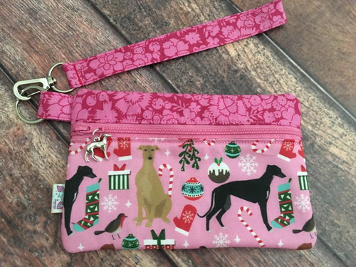 Houndie Holidays Pink / Garden Party Zipper Pouch Wristlet