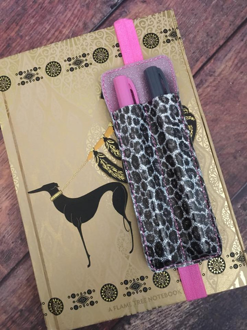 2 Pen Holder Planner Band - Leopard Silver Glitter / Cotton Candy Glitter