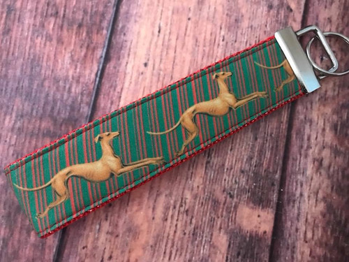 """Key Leash - Holiday Hounds Stripe on Red Sparkle 10"""""""