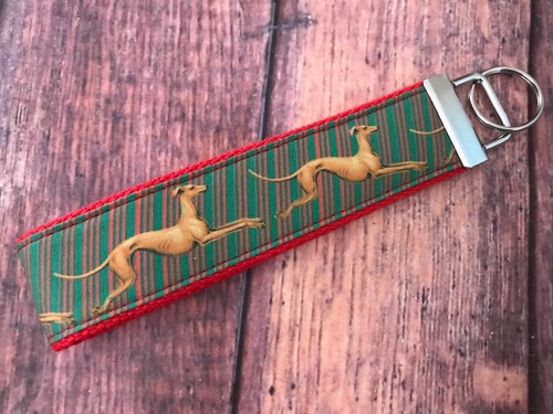 """Key Leash - Holiday Hounds Stripe on Red 10"""""""
