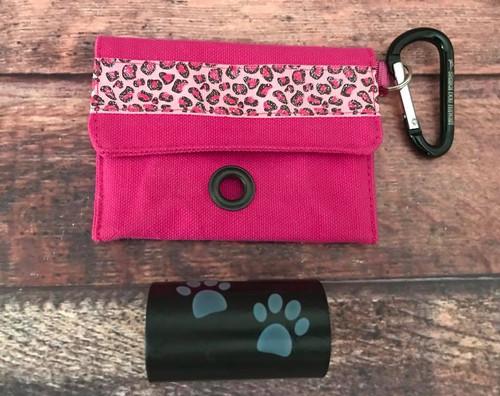 Canvas Poopie Pouch - Leopard Glitter Hot Pink