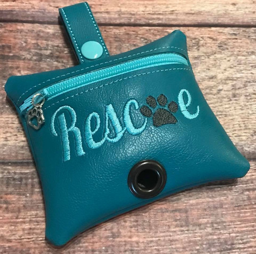 Pleather Poopie Pouch - Rescue Teal