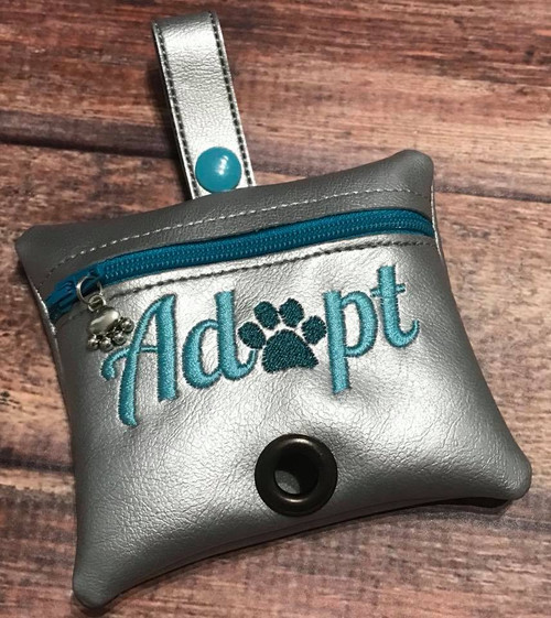 Pleather Poopie Pouch - Adopt Silver