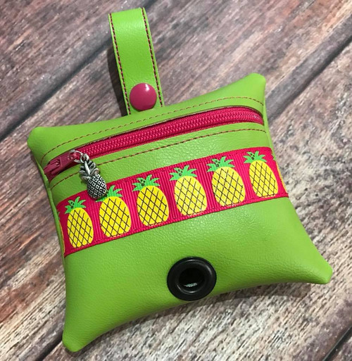 Pleather Poopie Pouch - Pineapple Delight Hot Pink / Lime