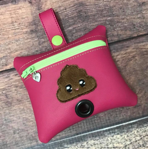 Pleather Poopie Pouch - Kawaii Poop Applique Hot Pink / Lime