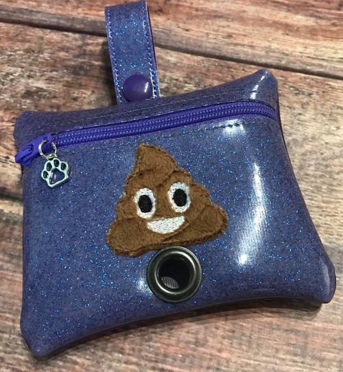 Pleather Poopie Pouch - Poop Applique Periwinkle Sparkle