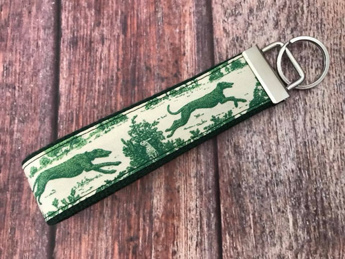 Key Leash - Toile Hounds Green/Cream 10""