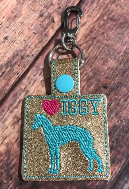 Bag Tag Novelty Keyfob - Iggy Love Square Gold Glitter