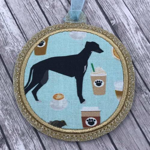 Ornament Cafe Hound Aqua Black on Gold Sparkle