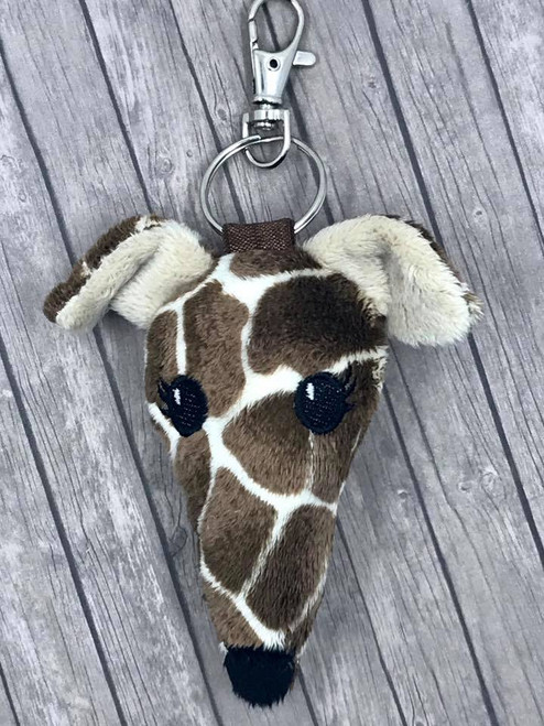 Houndie Head Bag Tag Key Fob Giraffe with Eyelashes