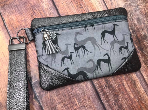 Greyhound Shadows / Pewter Pleather Zipper Bag 6.5x4.5