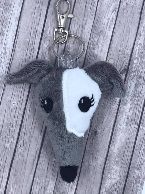 Houndie Head Bag Tag Key Fob Grey with White Patch  Eyelashes