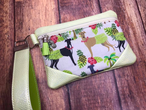 Hawaiian Hula Hounds / Metallic Celery Pleather Zipper Bag 6.5x4.5