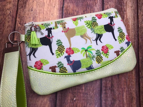 Hawaiian Hula Hounds / Metallic Celery Pleather Clutch 9x5.5