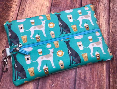 Cafe Hounds / Metallic Aqua Textured Pleather Center Zip Bag 10x6.5