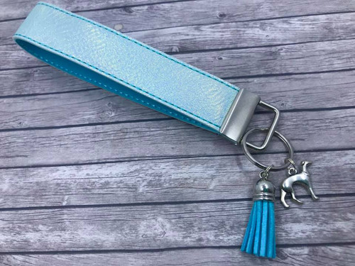 Key Leash - Aqua Metallic Pleather with Greyhound Charm 10""