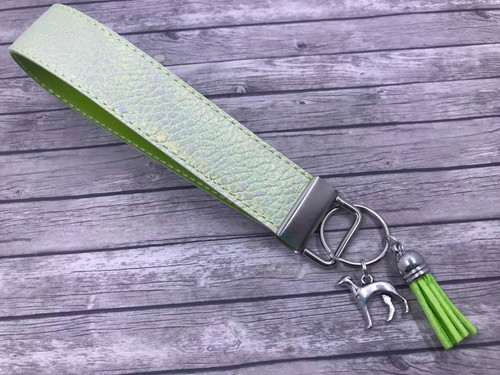 Key Leash - Celery Metallic Pleather with Greyhound Charm 10""