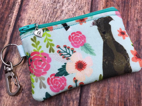 Garden Greyhound / Metallic Aqua Pleather Credit Card Zip Bag 4.5x3