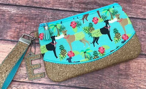 Hawaiian Hula Hounds / Faux Cork Clutch 9x5.5 -- MONOGRAM CHARM NOT INCLUDED