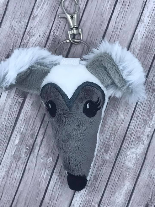 Houndie Head Bag Tag Key Fob White with Grey Mask, Eyelashes, Fringe Ears