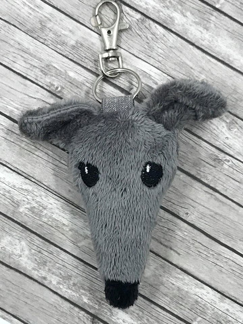 Houndie Head Bag Tag Key Fob Grey