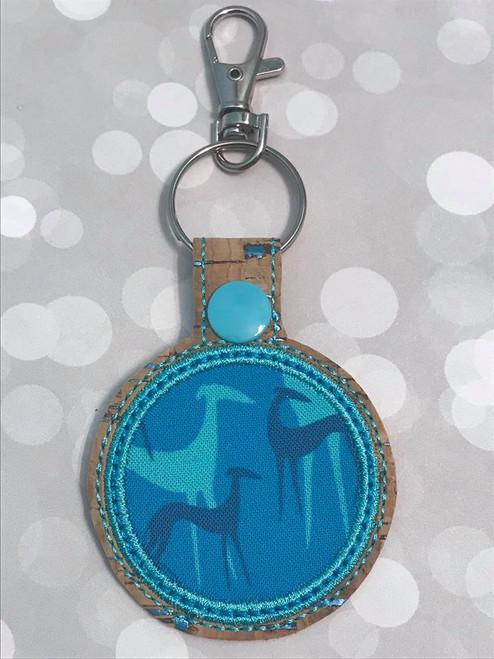 Mask Holder Bag Tag - Greyhound Shadows Teal Cork Blue Flecks