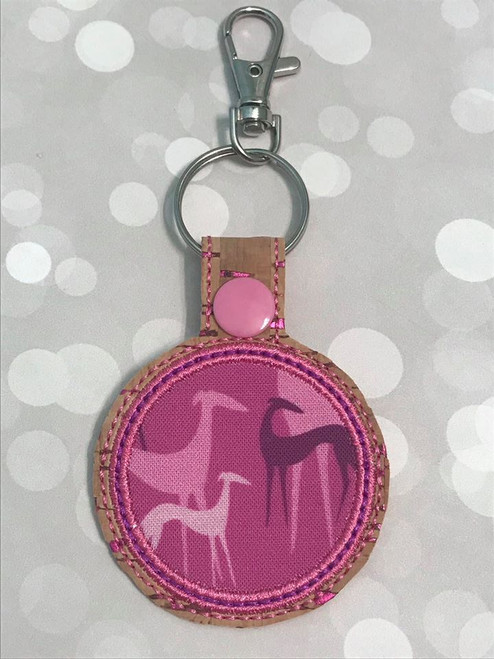 Mask Holder Bag Tag - Greyhound Shadows Magenta Cork Pink Flecks