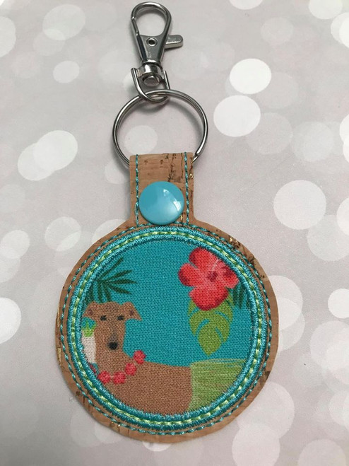 Mask Holder Bag Tag - Hula Hound Fawn Hound Cork Gold Flecks